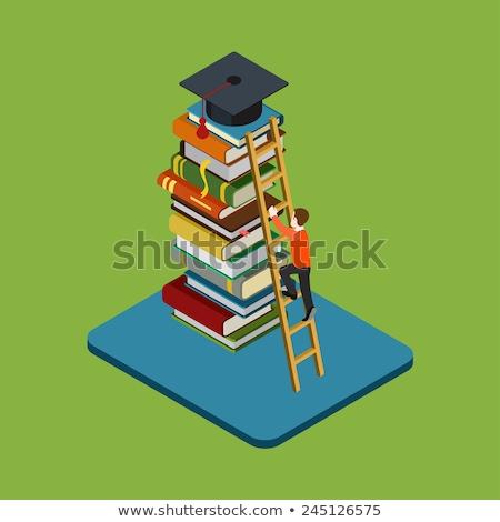 set of flat books in 3d vector illustration stock photo © kup1984