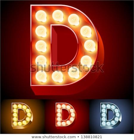 Letter D lamp glowing font. Vintage light bulb alphabet. Retro A Stock photo © popaukropa