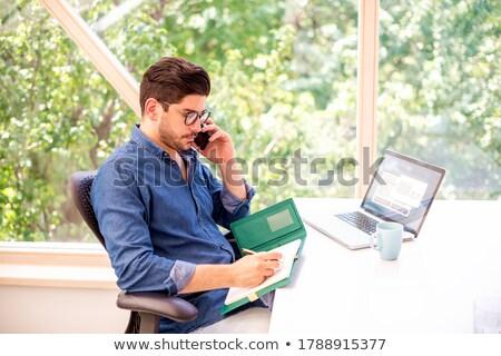 Male executive writing in diary while using laptop Stock photo © wavebreak_media