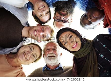 different nation woman: asian, caucasian together isolated on white background happy smiling, divers Stock photo © iordani