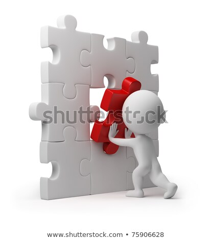 Stock photo: 3d small people - puzzle insert