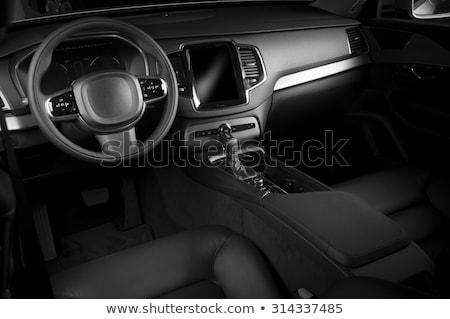 Stock fotó: Modern · európai · autó · belső · fekete · kirakat