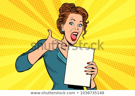 Pop art woman points to a blank template Stock photo © studiostoks