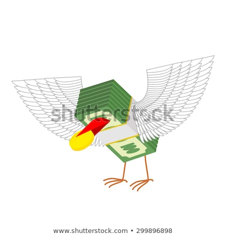 деньги крыльями Золотые монеты бумаги дизайна фон Сток-фото © popaukropa