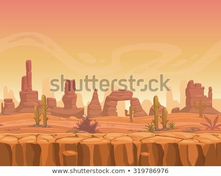 Jogo modelo deserto cena ilustração grama Foto stock © bluering