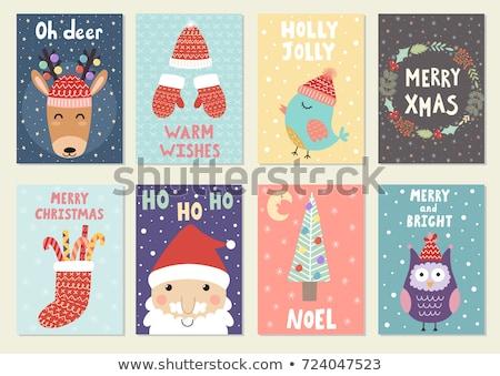 Vidám karácsony üdvözlőlap bagoly rénszarvas kötött Stock fotó © robuart