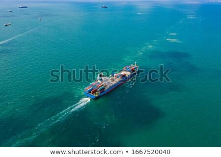 Industriële schepen Singapore haven vliegtuig vliegen Stockfoto © joyr