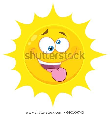 Crazy желтый солнце Cartoon лице характер Сток-фото © hittoon