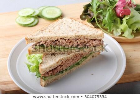 Ev yapımı ton balığı sebze sandviç ahşap arka plan Stok fotoğraf © M-studio