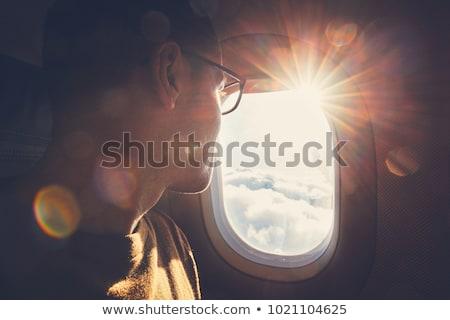 самолет · окна · ярко · синий · видимый · можете - Сток-фото © is2
