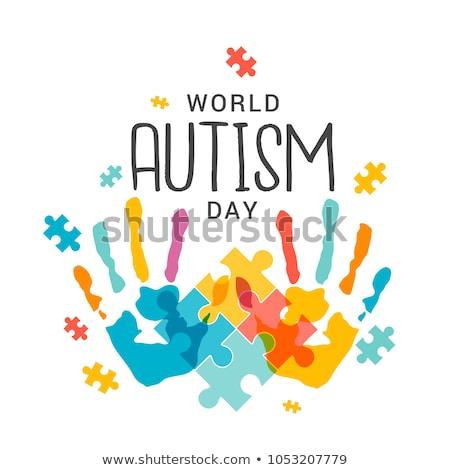 Autizmus tudatosság zűrzavar puzzle gyerekek szimbólum Stock fotó © Lightsource