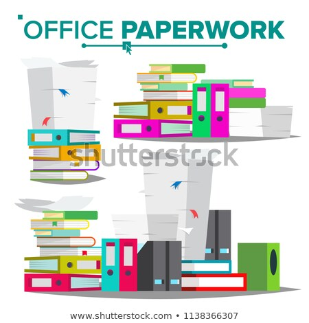 Stack Of Papers, File Folders Vector. Cluttered Documentation. Accounting Bureaucracy. Isolated Flat Stock photo © pikepicture
