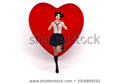 Pop art woman making heart sign with hands. Comic woman . Pin up Stock photo © balasoiu