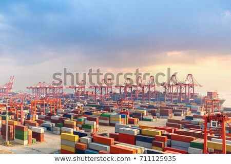 a cargo ship in the sea at sunset 1 stock photo © dmitriisimakov