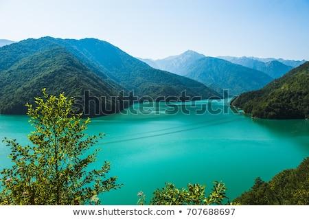 Berg landschap rivier Georgië najaar hoofd- Stockfoto © Kotenko