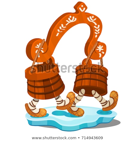 Fabulous wooden yoke with buckets isolated on white background. The characters of Russian folk tales Stock photo © Lady-Luck