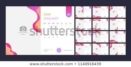 Einfache Kalender Layout Design Wand Tabelle Stock foto © SArts