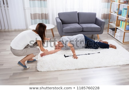 Inconsciente altos hombre alfombra caminando palo Foto stock © AndreyPopov