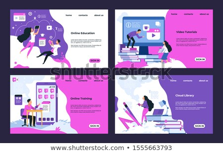 business seminar web pages set vector illustration stock photo © robuart