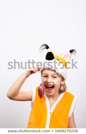 Mooie meisje eekhoorn jurk poseren Stockfoto © acidgrey