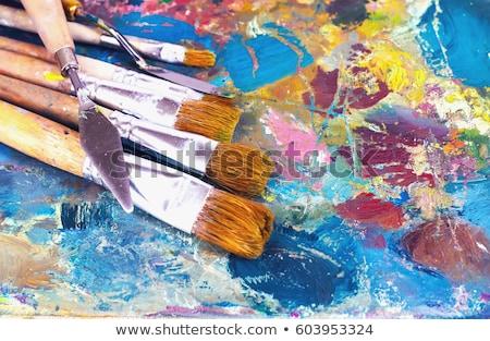 Sanatçı paletine bıçak boyama sanat stüdyo Stok fotoğraf © dolgachov