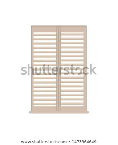 Stylish Wooden Lattice Shutters with Windowsill Stock photo © robuart