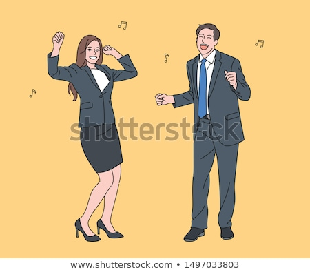 Woman and Men Happily Working Vector Illustration Stock photo © robuart