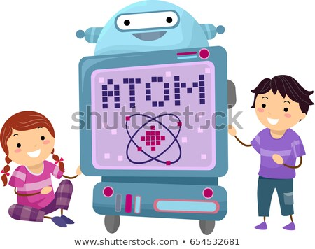 Stickman Kids Robot Teacher Atom Illustration Stock photo © lenm
