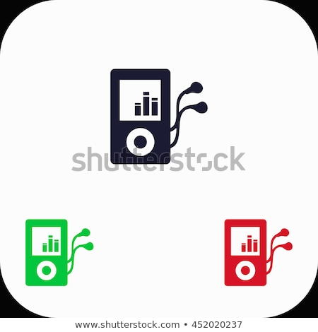Red mp3 player and wired earphones Stock photo © magraphics