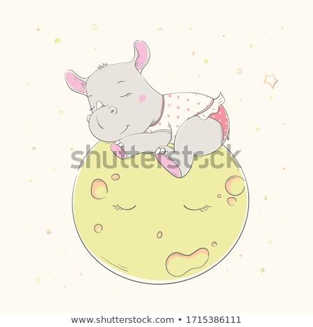 Cartoon rhino piżama ilustracja szczęśliwy Zdjęcia stock © cthoman