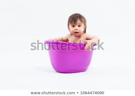 çok güzel kafkas kız banyo mor Stok fotoğraf © Traimak
