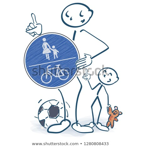 Stick figures with a pedestrian and bike path in front of the body Stock photo © Ustofre9