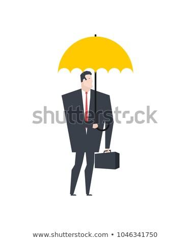 empresário · em · pé · guarda-chuva · chuva · ilustração · formato - foto stock © maryvalery