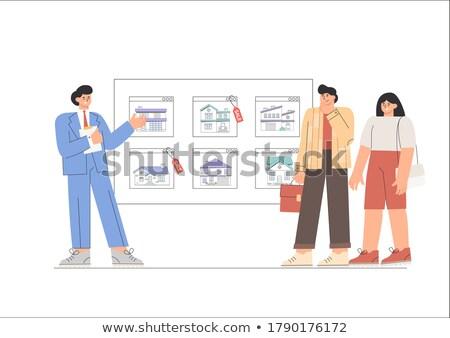 Pośrednik w sprzedaży nieruchomości domu biurowiec sprzedaży wektora budynku Zdjęcia stock © MaryValery