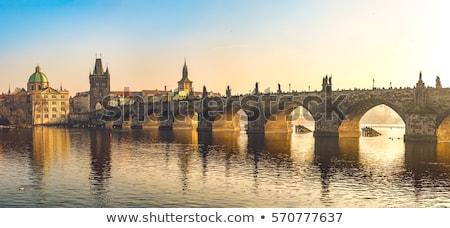 моста · рассвета · Прага · Чешская · республика · здании · снега - Сток-фото © givaga