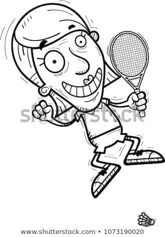 Cartoon Senior Badminton Player Jumping Stock photo © cthoman