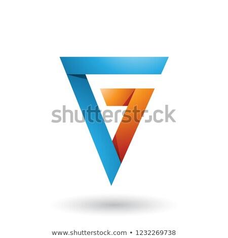 Mavi turuncu katlanmış üçgen harfler vektör Stok fotoğraf © cidepix