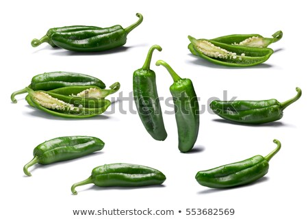 Foto stock: Set Of Whole And Sliced Anaheim Peppers Paths