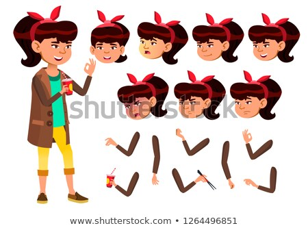 Asian Teen Girl Vector. Teenager. Pretty, Youth. Face Emotions, Various Gestures. Animation Creation Stock photo © pikepicture