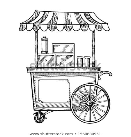 Pizza Cart Street Food Shop Vector Illustration Stock photo © robuart