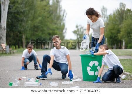 Children Collecting Rubbish on White Background Stock photo © colematt