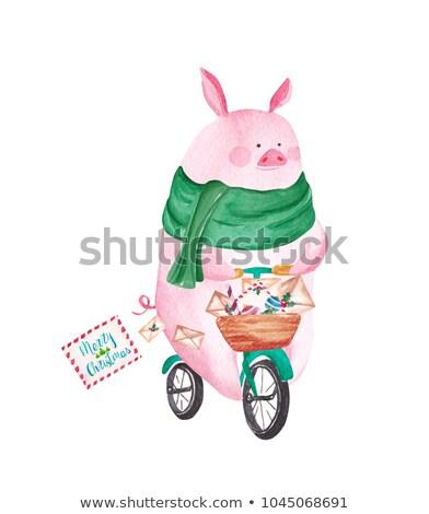 Natal porco balões ilustração fundo branco Foto stock © colematt
