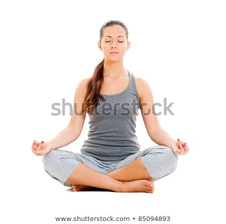 красивая · женщина · йога · осуществлять · пляж · сидят · песок - Сток-фото © boggy