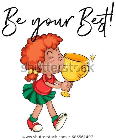 Nina besar trofeo palabras mejor ilustración Foto stock © colematt