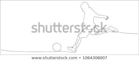 いたずら書き 少年 キック サッカーボール 実例 デザイン ストックフォト © colematt