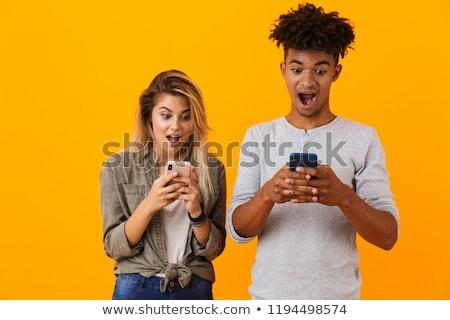 boldog · fiatal · aranyos · afrikai · pár · izolált - stock fotó © deandrobot