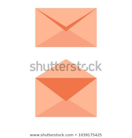 Posta boríték puha narancs ikon kinyitott Stock fotó © Natali_Brill