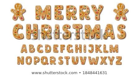 Peperkoek brief kerstman geïsoleerd witte top Stockfoto © Bozena_Fulawka