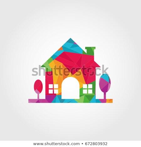 красочный треугольник многоугольник дома икона вектора Сток-фото © blaskorizov