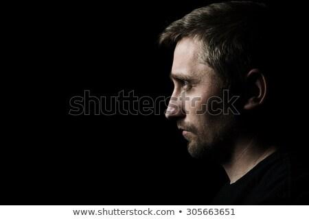 Stock fotó: Portré · töprengő · férfi · pulóver · sál · áll